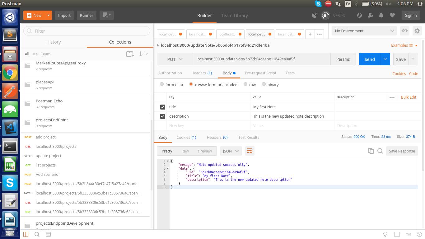 Updating a note in nodejs api