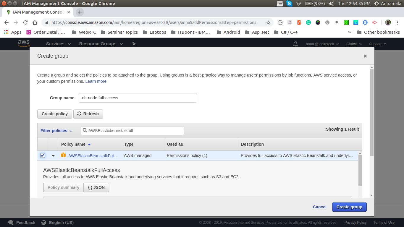 deploy node.js in aws