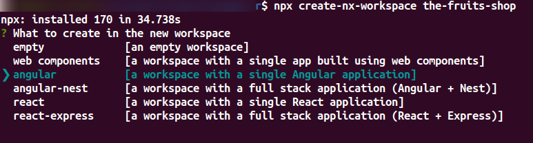 Creating new workspace in Angular CLI Schematic with Nx