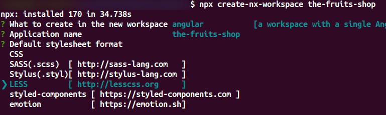 Default Style sheet Creating Angular CLI Schematic with Nx