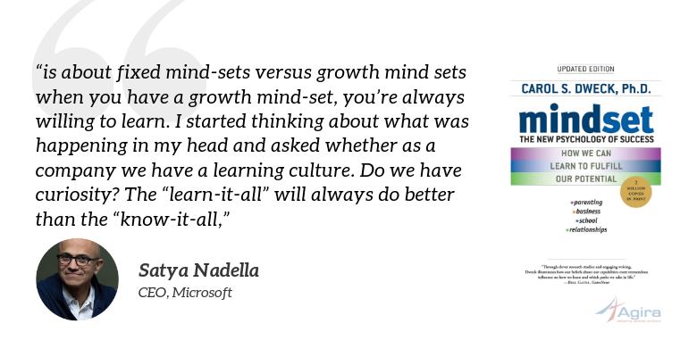 Mindset: The New Psychology of Success, Carol Dweck - Satya nadella