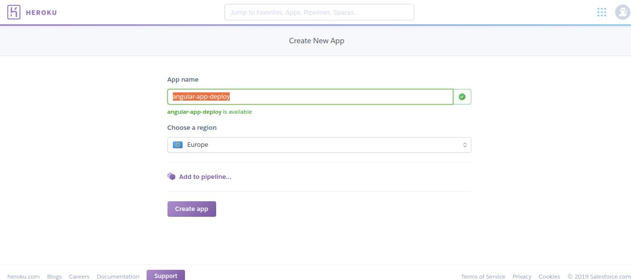 create a angular app in Heroku