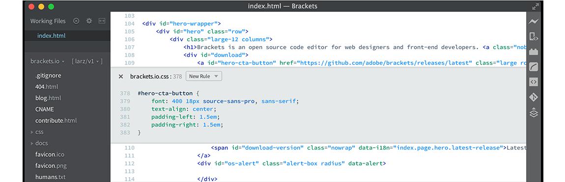 Angular IDE- Brackets code editor