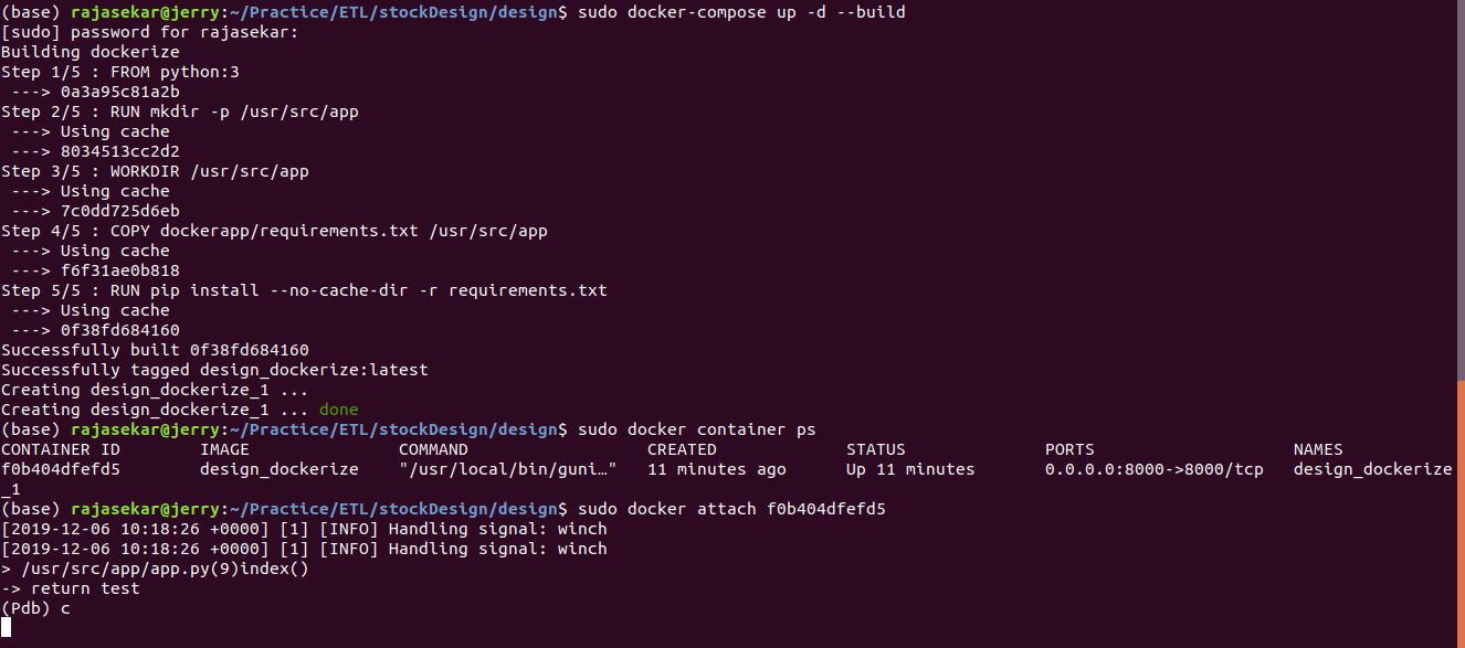 python flask docker container