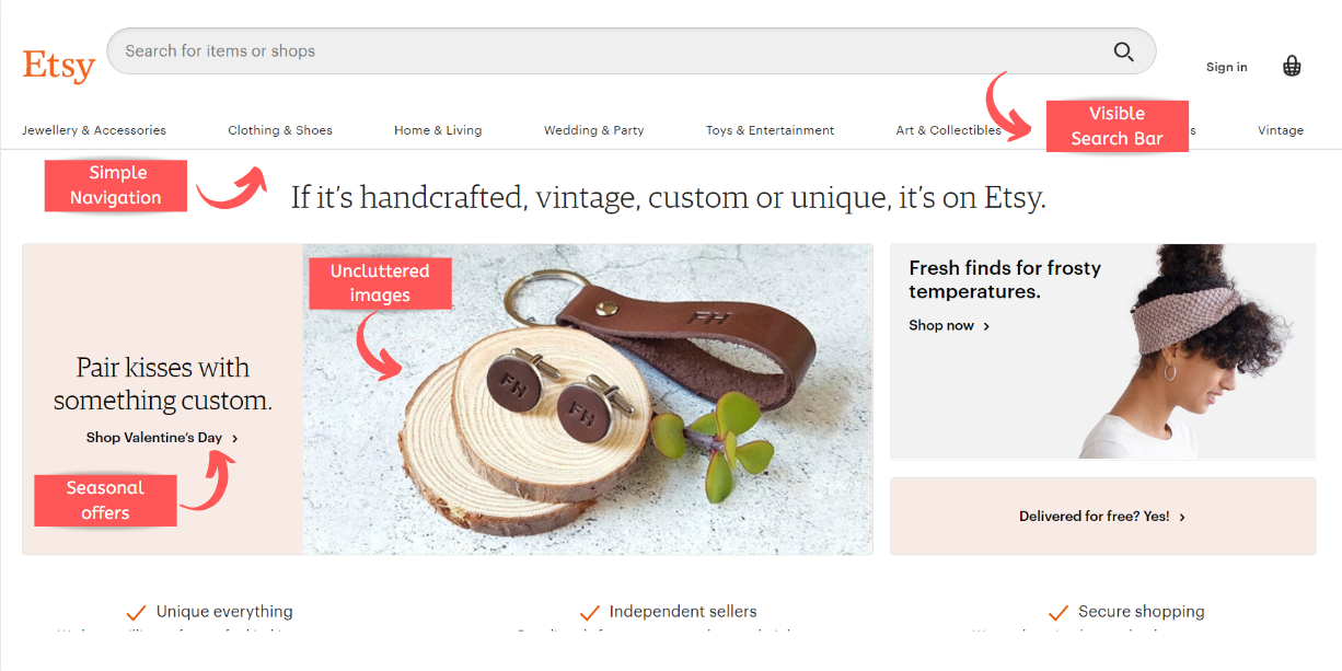 Home page UX etsy