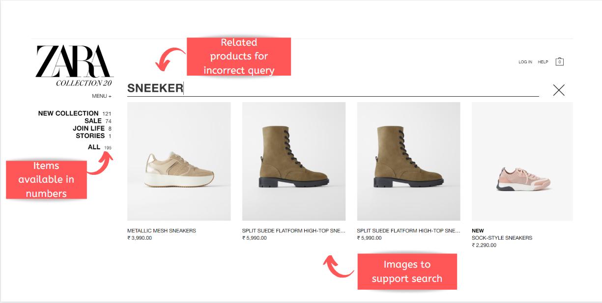 search box UX Zara