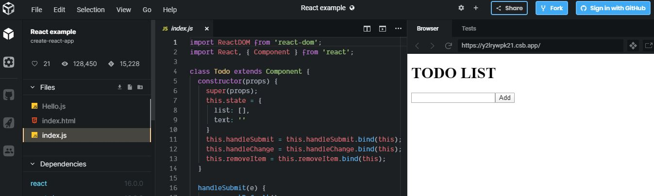 Code sandbox - react dev tool