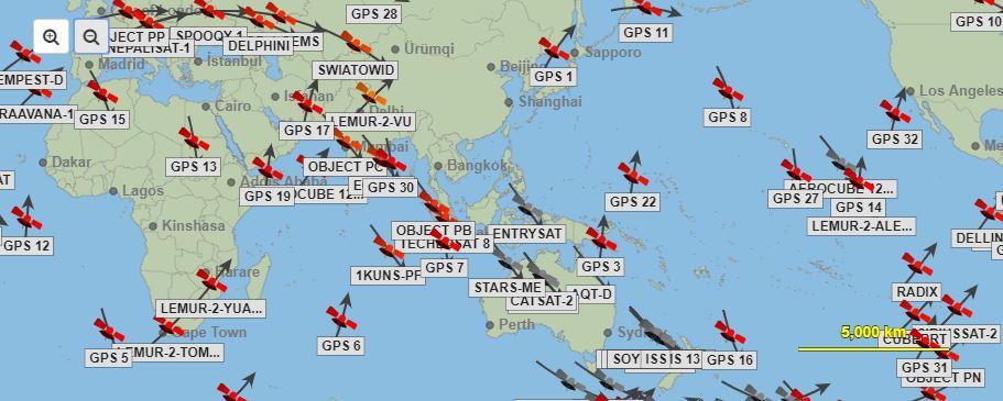 live Satellite positions